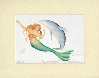 "Mermaid Xenia with Dolphin Art Signed Robert Kline 8"" x 10"" Matted Print Fanatsy Home Office Boat Bathroom Decor Nautical Beach House Gift"