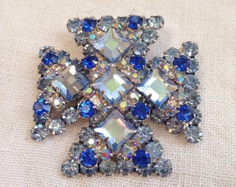 Juliana Blue Flat Rhinestone Maltese Cross Brooch