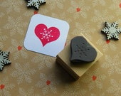 Christmas Stamp - Snowflake Heart Rubber Stamper - Stocking Stuffer Filler - Christmas Gift - Card Making - Scrapbooking - Winter Wedding