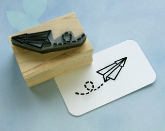 Paper Plane Japanese Rubber Stamp Japan Rubber Stamp - Papercraft - Paper Folding - Stamper - Wedding Stationery - Paper Crane - Oriental