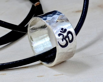 Sterling Silver Om Necklace Ring for Peace Tranquility and Yoga Inspired Jewelry - RG337