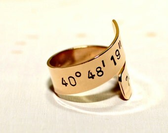 Latitude longitude bypass ring in bronze with personalized coordinates - Custom Wrap Ring - RG908