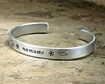 Aluminum Namaste Yoga Cuff Bracelet for Awakening the Divine Spark between Souls - BR412