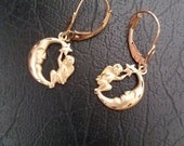 Stunning 14k Angel on Moon Earrings--Low Price --FREE Gift Wrap--Nice Mothers Day Gift