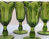 Gorgeous Retro Green Glass Parfait Dessert Cps--Set of 4--Vintage