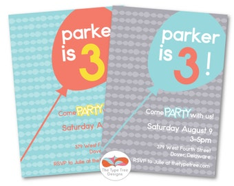 Colorful Balloon Birthday Invitation - DIY Printable PDF File