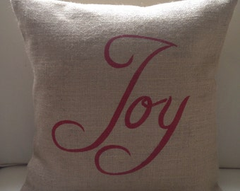 READY TO SHIP Christmas Joy burlap pillow cover