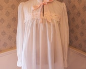 Vintage 1980s White Cotton Victorian Style Nightgown with Pink Satin Bow