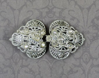 Vintage Art Deco Rhinestone Silver Pot Metal 2 Piece Buckle