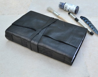 Rustic Black Leather Journal with Mixed Media Paper