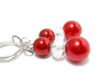 Pearl EarringsWedding/ Pearl Bridal Earrings/Bridal Jewelry/Cranberry Pearls/Crystals/Sterling Silver/Earrings