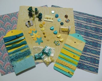 Inspiration Kit--Turquoise and Yellow for Mixed Media, Scrapbooking, Journal Making, Crazy Quilts, Sewing, Ribbons, Embellishments, Sequins