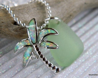 Sea Glass with Fire Opal, Sterling Silver Palm Tree