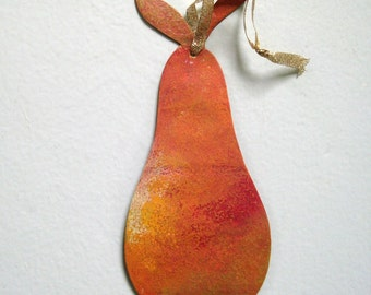 Vivid Yellow Gold Pear Tree Ornament Wall Decor Recycled Metal Pear Sculpture
