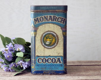 Antique Cocoa Tin 1920s Monarch Brand Hinged Tin