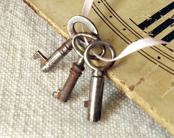 Antique Small Old Skeleton Keys Lot of Three