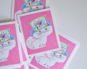 Vintage Set of 16 Bridge Tally Cards with Cat Print