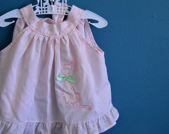 Vintage Baby Girl's Pale Pink Top with Cat Print - Size 6-12 Months
