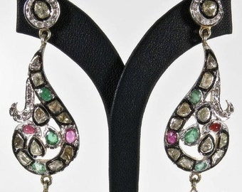 CIJ Christmas July SALE SALE Beautiful Victorian Design Genuine Diamond Ruby and Emerald Sterling Silver Gold Vintage Earrings