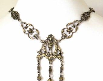 Scorpio Birthday SALE Vintage Italian Peruzzi Cini Renaissance Revival 800 Silver Vintage Antique Necklace