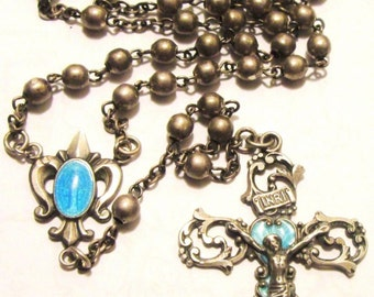Beautiful French Fleur De Lis Sterling Silver Enamel Guilloche Mother Mary Crucifix Antique ROSARY