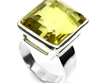 Beautiful Faceted Yellow Lemon Quartz Sterling Silver Vintage Ring