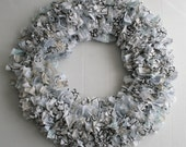 Fabric Scrap Wreath in Black, White, Baby Blue, and Gray