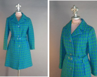 1960s coat 60s Vintage BLUE GREEN HOUNDSTOOTH check turquoise wool mod coat