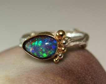 Boulder Opal Baby Foot Ring, Two Tone Jewelry, 14k Yellow Gold Sterling Silver Jewelry, Unique Opal Twig Ring, Mothers Ring
