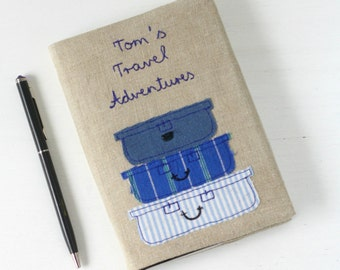 Personalised Travel Notebook - blocks and stripes