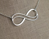 Large double infinity necklace in sterling silver, infinity knot, infinity symbol, bridal jewelry, sterling silver necklace