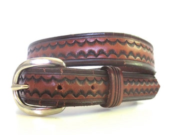 Vintage Tooled Leather Belt by Bamco USA