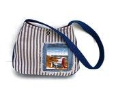 Nautical purse Cotton Shoulder Bag Beach washable blue white stripes denim fabric     cute nautical Adirondack chair, caroljoyfashions77 RTS