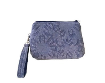 Denim clutch Purse clutch wristlet strap flowers cute summer small padded zipper clutch purse washable unique fabric CarolJoyFashions75 RTS