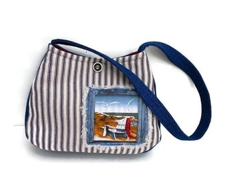 Nautical purse Cotton Shoulder Bag Beach washable blue white stripes denim fabric     cute nautical Adirondack chair, caroljoyfashions77 RTS