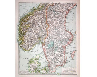 1894 ANTIQUE MAP Sweden & Norway scandinavia lithograph original antique map print