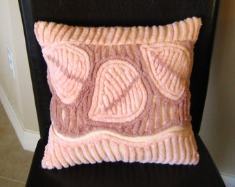 Peach and Mauve Vintage Chenille Pillow - Thick Plush Leaves