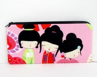 Long Zipper Pencil Pouch, Japanese Kokeshi Dolls, Kawaii Geisha Bag