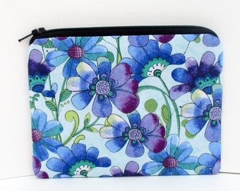 Small Zipper Pouch, Purple Posies, Flower Coin Purse
