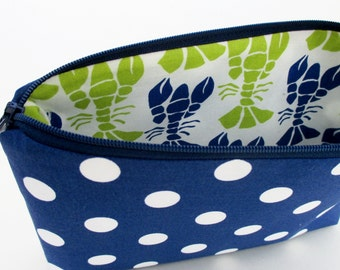 Zippered Cosmetic Pouch Bag, Lobster Surprise, Royal Blue Dot
