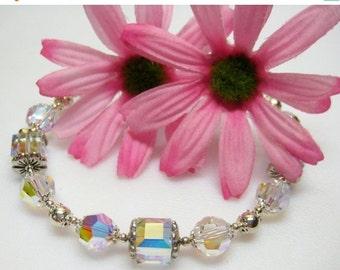 40% off Crystal Swarovski Crystal and Sterling Silver Bracelet - Gift - Plus Size Bracelet - April Birthstone Bracelet - Birthstone Jewelry