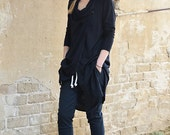 Winter Sale 15% Off!!! New Collection winter 2016! Extra long blouse, tunic, black soft viscous blouse, black leather pin