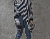 Winter Sale 15% Off!!! Japanese inspirited blue stripes multiway to wear top with camel leather pin