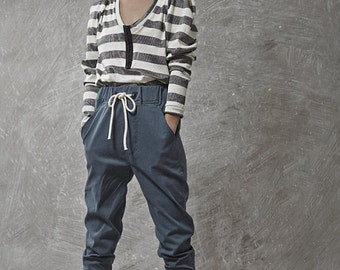 Winter Sale 15% Off!!! Blue tying stone washed denim cotton baggy pants