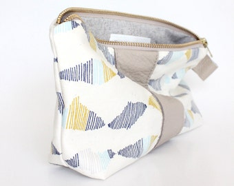 EMILIE Stripe Cosmetic bag, organic cotton and leather