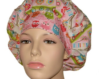 Scrub Hats - Owls and Critters Off To The Tree Party Pink Stripe