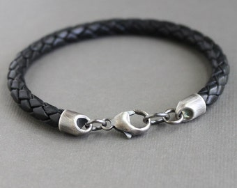Mens Black Leather Bracelet,  Braided Leather Cord Bracelet, Sterling Silver Clasp