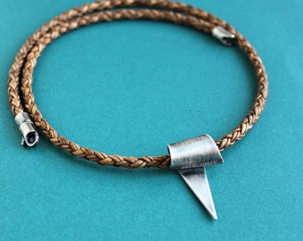 Mens Leather Necklace, Silver Triangle Pendant, Light Brown Braid