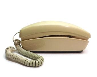 Vintage Trimline Phone, Rotary Phone, 1970's Phone, Vintage Telephone, Cream Phone, Landline Phone, Movie Prop, Desk Phone, Slim Telephone