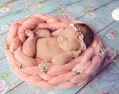 NEW Pink Angel Basket  Reversible Newborn Photography Prop Wool Knit Unisex baby boy girl